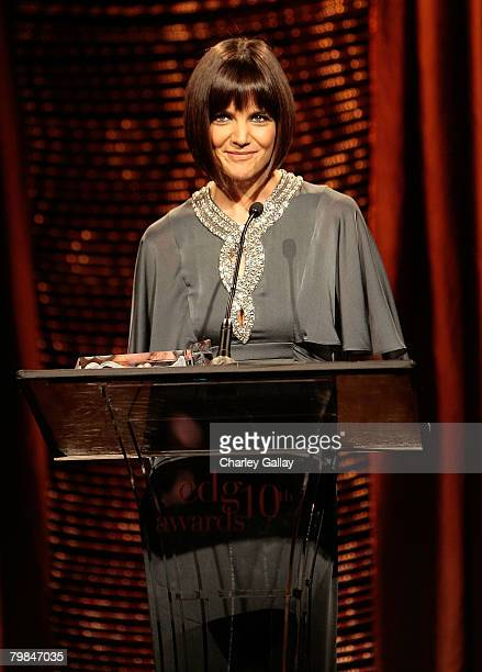 Actress Katie Holmes onstage during the 10th Annual Costume Designers Guild Awards held at the Beverly Wilshire Hotel on February 19 2008 in Beverly...