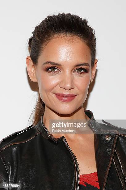 Actress Katie Holmes poses backstage at the Desigual fashion show during MercedesBenz Fashion Week Fall 2015 at The Theatre at Lincoln Center on...
