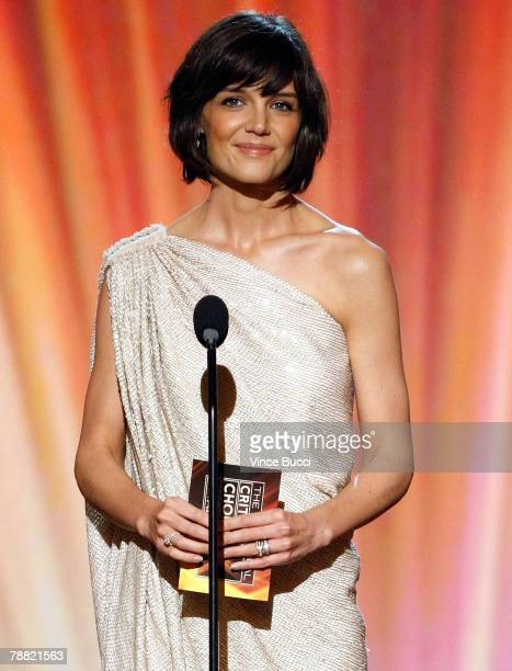Actress Katie Holmes presents the award for 'Best Comedy Movie' onstage during the 13th annual Critics' Choice Awards held at the Santa Monica Civic...