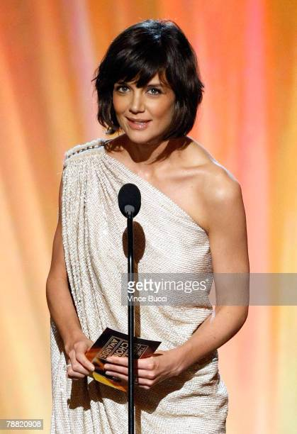 Actress Katie Holmes presents the Comedy Movie Award onstage during the 13th annual Critics' Choice Awards held at the Santa Monica Civic Auditorium...