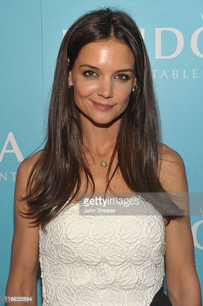 Actress Katie Holmes recipient of the 2011 MaxMara 'Face of the Future' award poses backstage at the 2011 Women In Film Crystal Lucy Awards with...