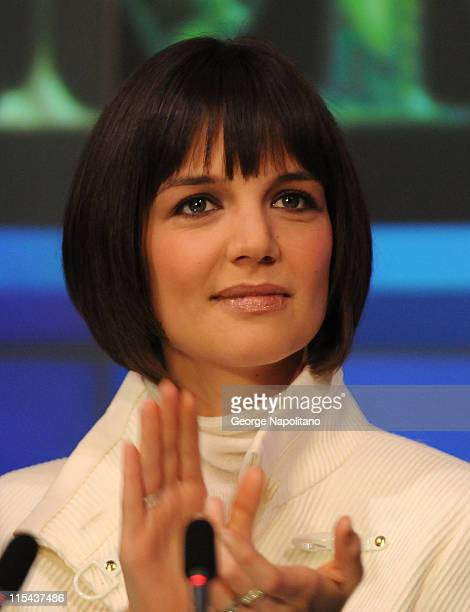 Actress Katie Holmes ring the opening bell at the NASDAQ Times Square on January 16 2007 in New York City