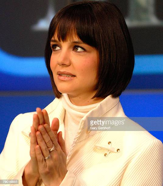Actress Katie Holmes rings the NASDAQ opening bell at NASDAQ on Januray 16 2008 in New York City