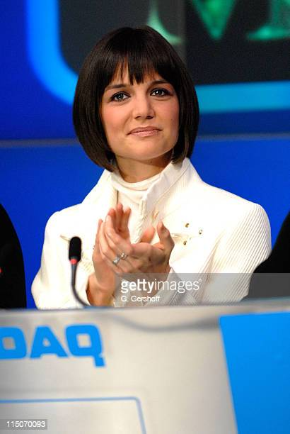 Actress Katie Holmes rings the NASDAQ Opening Bell on January 16, 2008 at NASDAQ in New York City.