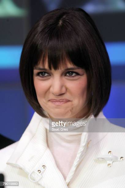 Actress Katie Holmes rings the NASDAQ stock market opening bell on January 16 2008 in New York City