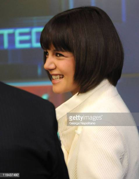 Actress Katie Holmes rings the opening bell at the NASDAQ Times Square on January 16 2007 in New York City