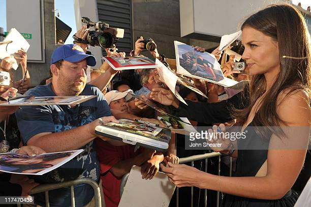 "Actress Katie Holmes signs autographs at the ""Don't Be Afraid of The Dark"" Closing Night Gala screening during the 2011 Los Angeles Film Festival..."