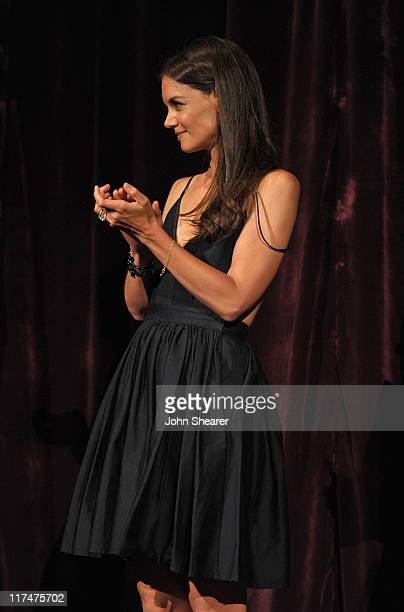 "Actress Katie Holmes speaks onstage at the ""Don't Be Afraid of The Dark"" Closing Night Gala screening introduction during the 2011 Los Angeles Film..."