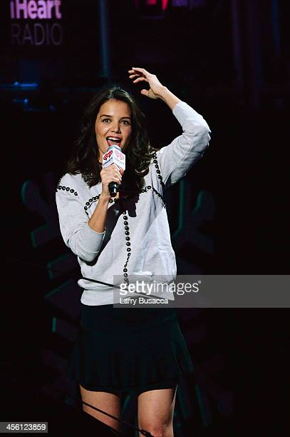 Actress Katie Holmes speaks onstage during Z100's Jingle Ball 2013 presented by Aeropostale at Madison Square Garden on December 13 2013 in New York...