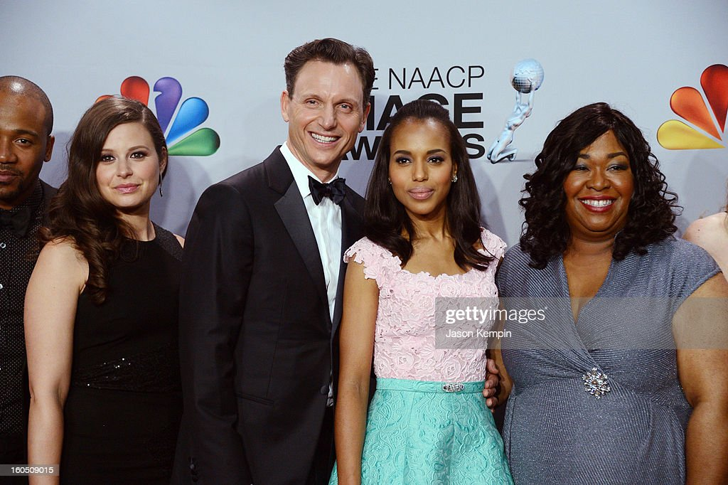 Actress Katie Lowes, actor Tony Goldwyn, actress Kerry Washington and producer Shonda Rhimes pose in the press room during the 44th NAACP Image Awards at The Shrine Auditorium on February 1, 2013 in Los Angeles, California.