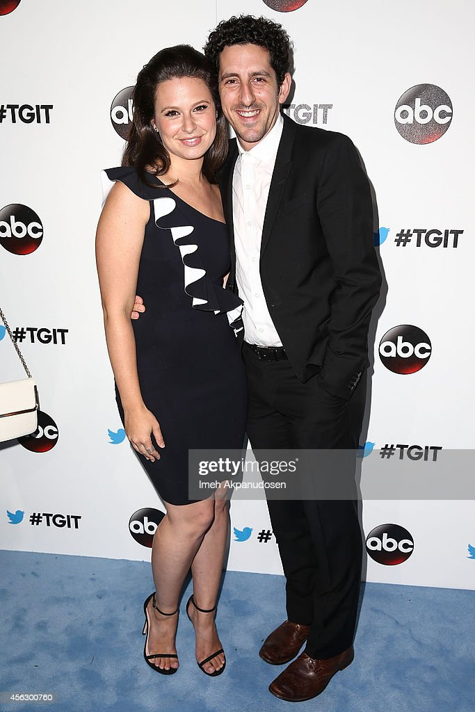 Actress Katie Lowes (L) and husband, actor Adam Shapiro, attend the TGIT Premiere event at Palihouse on September 20, 2014 in West Hollywood, California.