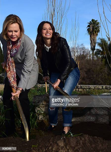 Actress Katie Lowes and JoBeth Williams President of the SAGAFTA Foundation Board and Chair SAG Awards Committee attend a Tree Planting Ceremony and...