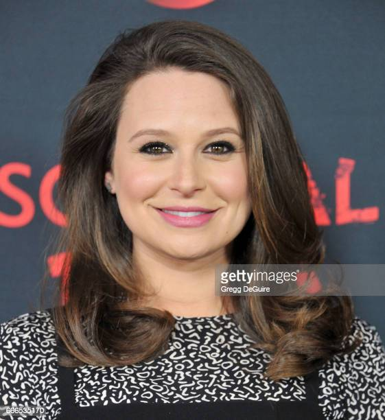Actress Katie Lowes arrives at ABC's Scandal 100th Episode Celebration at Fig Olive on April 8 2017 in West Hollywood California