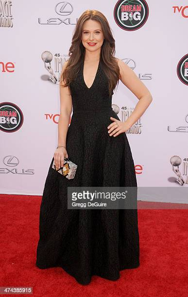 Actress Katie Lowes arrives at the 45th NAACP Image Awards at Pasadena Civic Auditorium on February 22 2014 in Pasadena California