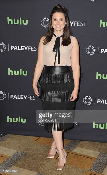Actress Katie Lowes arrives at The Paley Center For Media's 33rd Annual PaleyFest Los Angeles 'Scandal' at Dolby Theatre on March 15 2016 in...