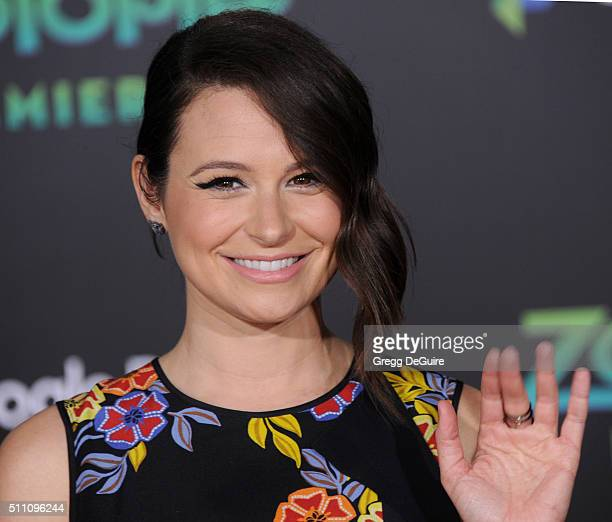 Actress Katie Lowes arrives at the premiere of Walt Disney Animation Studios' Zootopia at the El Capitan Theatre on February 17 2016 in Hollywood...