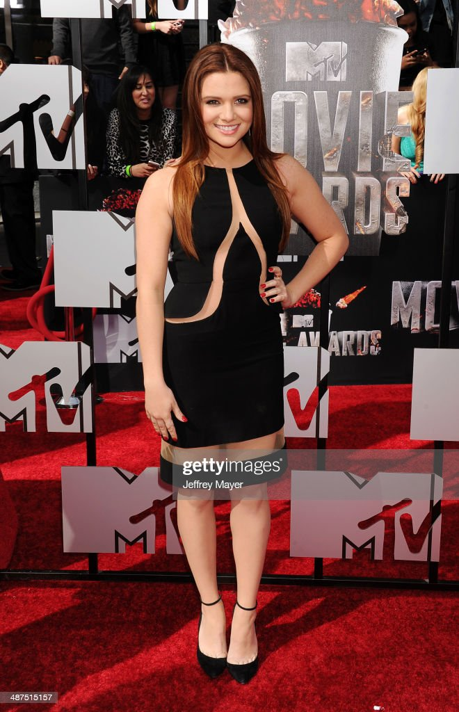 Actress Katie Stevens attends the 2014 MTV Movie Awards at Nokia Theatre L.A. Live on April 13, 2014 in Los Angeles, California.