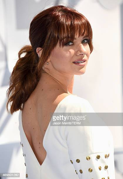 Actress Katie Stevens attends The 2015 MTV Movie Awards at Nokia Theatre LA Live on April 12 2015 in Los Angeles California