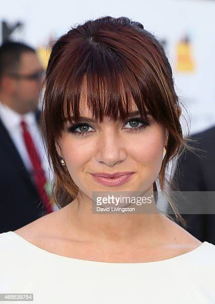 Actress Katie Stevens attends the 2015 MTV Movie Awards at the Nokia Theatre LA Live on April 12 2015 in Los Angeles California