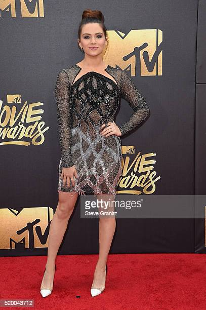 Actress Katie Stevens attends the 2016 MTV Movie Awards at Warner Bros Studios on April 9 2016 in Burbank California MTV Movie Awards airs April 10...