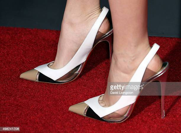 Actress Katie Stevens shoe detail attends the premiere of Focus Features' The Danish Girl at the Regency Village Theatre on November 21 2015 in...