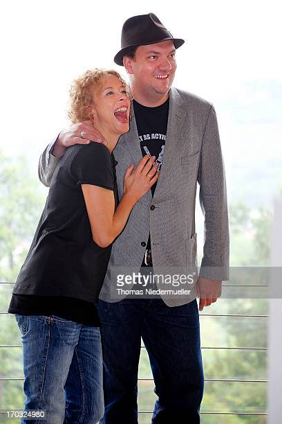 Actress Katja Riemann and actor Charly Huebner pose during a photocall on the set of 'Ohne Dich' on June 11 2013 in Stuttgart Germany