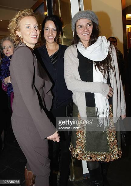 Actress Katja Riemann Minu BaratiFischer and Katja von Garnier attend the after show party to the 'Small World' premiere at Cinema Paris on December...