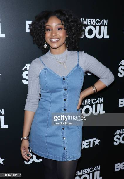 Actress Katlyn Nichol attends the BET's American Soul New York premiere at New World Stages on January 29 2019 in New York City