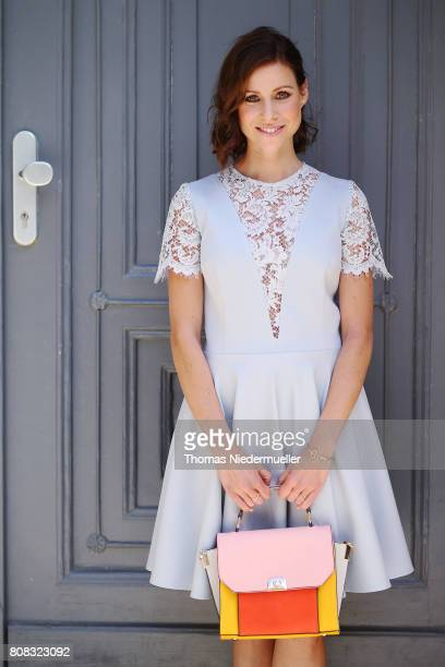 Actress Katrin Hess wearing a light blue dress is seen during the MercedesBenz Fashion Week Berlin Spring/Summer 2018 at Kaufhaus Jandorf on July 4...