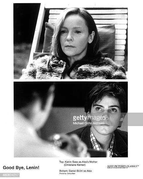 Actress Katrin Sass on set actor Daniel Bruhl in a scene from the movie Good Bye Lenin circa 2003