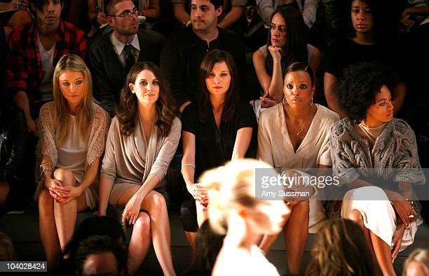 Actress Katrina Bowden actress Alison Brie actress Jill Flint actress Aisha Tyler and singer Solange Knowles attend the Max Azria Spring 2011 fashion...