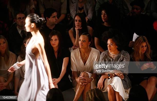 Actress Katrina Bowden actress Alison Brie actress Jill Flint actress Aisha Tyler and singer Solange Knowles attends the Max Azria Spring 2011...