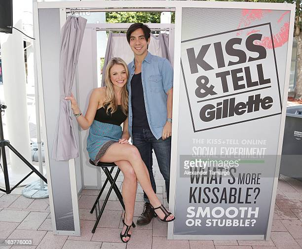 Actress Katrina Bowden and musician and fiancee Ben Jorgensen help guys stay smooth shaven as she kicks off the Gillette KISS Spring Break tour in...