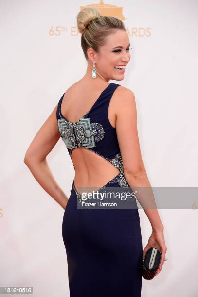 Actress Katrina Bowden arrives at the 65th Annual Primetime Emmy Awards held at Nokia Theatre LA Live on September 22 2013 in Los Angeles California