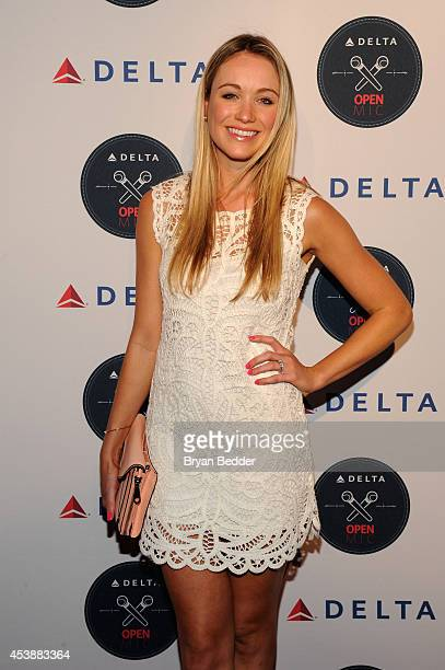 Actress Katrina Bowden attends the the Delta OPEN Mic a private karaoke event in celebration of Serena Williams' upcoming defending tennis...