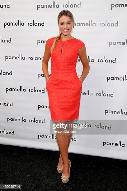 Actress Katrina Bowden poses backstage at the Pamella Roland fashion show during MercedesBenz Fashion Week Spring 2015 at The Salon at Lincoln Center...