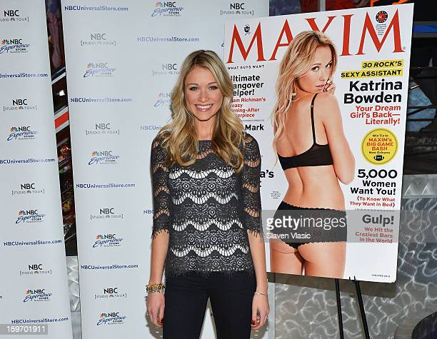 Actress Katrina Bowden Signs Copies Of Her Maxim Cover Issue at NBC Experience Store on January 18 2013 in New York City