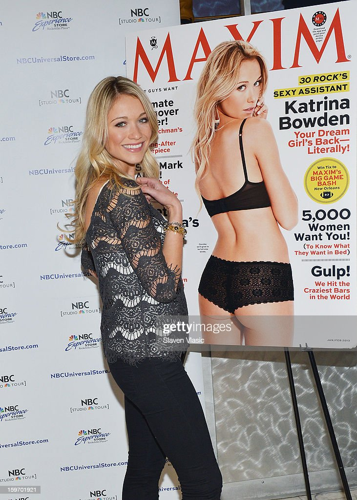 Actress Katrina Bowden Signs Copies Of Her Maxim Cover Issue at NBC Experience Store on January 18, 2013 in New York City.