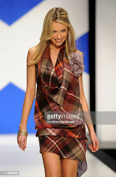 Actress Katrina Bowden walks the runway at the 9th annual Dressed to Kilt charity fashion show at the Hammerstein Ballroom on April 5 2011 in New...