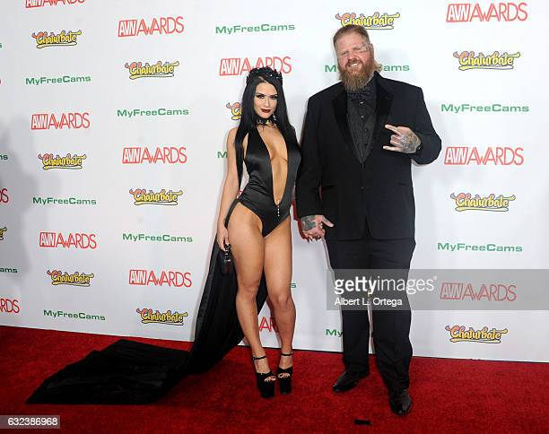 Actress Katrina Jade and Nigel Dictator arrive at the 2017 Adult Video News Awards held at the Hard Rock Hotel Casino on January 21 2017 in Las Vegas...