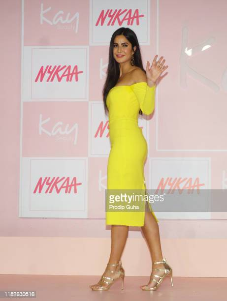 """Actress Katrina Kaif attends the launch of makeup brand """"KayByKatrina"""" on October 22, 2019 in Mumbai, India."""