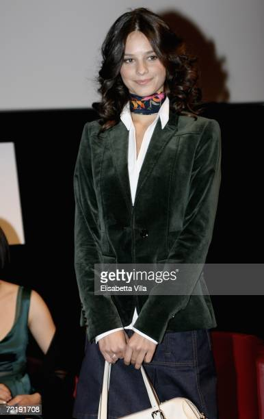 Actress Katy Louise Saunders attends a press conference to promote the movie L' Aria Salata on the fifth day of Rome Film Festival on October 17 2006...