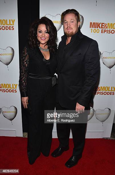 Actress Katy Mixon and Breaux Greer attend CBS's Mike Molly 100th Episode celebration at Cicada on January 31 2015 in Los Angeles California