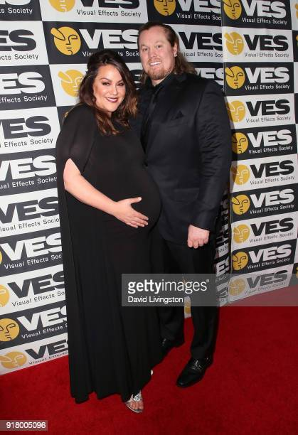 Actress Katy Mixon and Breaux Greer attend the 16th Annual VES Awards at The Beverly Hilton Hotel on February 13 2018 in Beverly Hills California