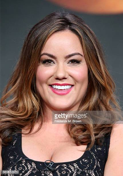 Actress Katy Mixon speaks onstage at the 'American Housewife' panel discussion during the Disney ABC Television Group portion of the 2016 Television...