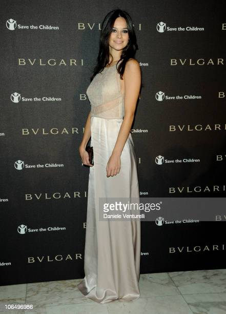 Actress Katy Saunders arrives at the Bulgari Express for Save The Children Party at the Salone delle Fontane during The 5th International Rome Film...