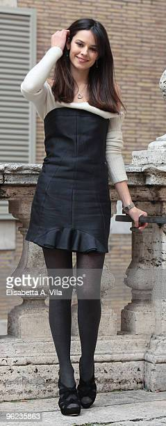 Actress Katy Saunders attends Sant'Agostino photocall at Sant'Agostino Basilica on January 28 2010 in Rome Italy