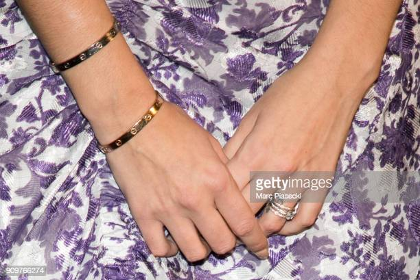 Actress Kaya Scodelario bracelet and ring detail attends the 'Maze Runner The Death Cure' Premiere at Le Grand Rex on January 24 2018 in Paris France