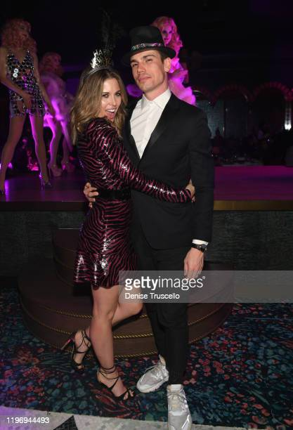 Actress Kayla Ewell and actor Tanner Novlan attend Mayfair Supper Club during its debut on New Years Eve at Bellagio Las Vegas on December 31 2019 in...