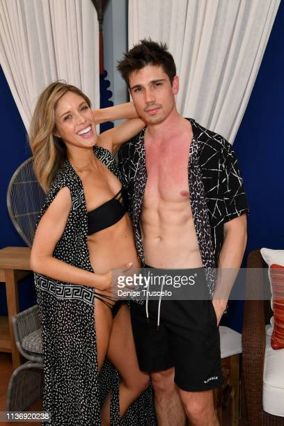 Actress Kayla Ewell and actor/mode Tanner Novlan attend the debut weekend of JEMAA The NoMad Pool Party At NoMad Hotel In Park MGM Las Vegas on April...